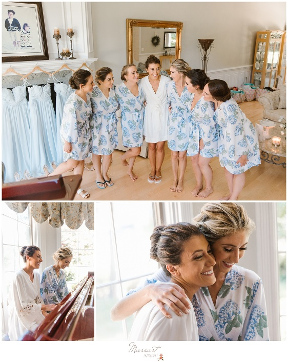 Bride and bridesmaids get ready before Newport RI wedding photographed by Massart Photography RI