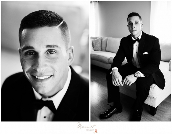 Pictures of the groom before the Newport Beach House wedding photographed by Massart Photography RI