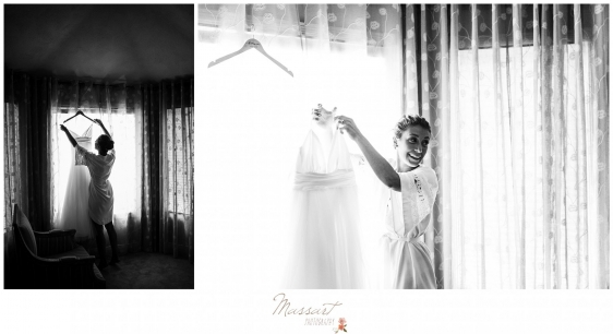 Bride gets dressed at parents house before Newport RI wedding photographed by Massart Photography RI
