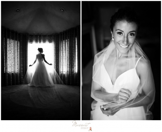 Photos of the bride in her wedding gown taken in her parents house before Newport RI wedding by Massart Photography RI