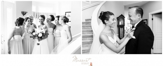 Bride and her father as well as the bride and the bridal party get ready before the Newport RI wedding photographed by Massart Photography RI