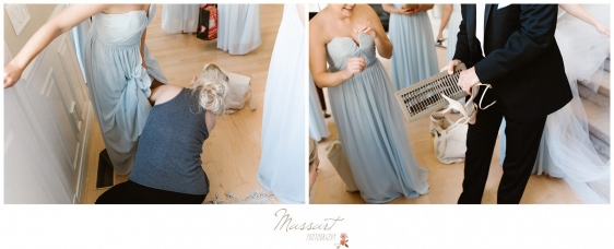 Bridal party gets dressed before the Newport RI wedding photographed by Massart Photography RI