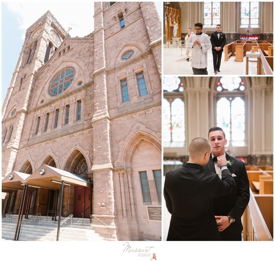 Groom gets ready to see his bride at the church before the Newport RI wedding photographed by Massart Photography RI
