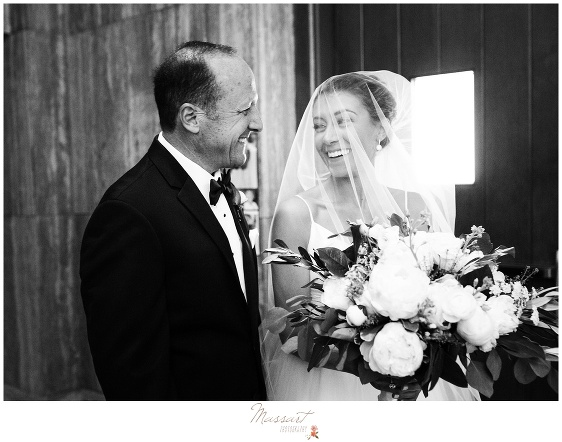 Bride and father get ready to walk down the aisle before the Newport RI wedding photographed by Massart Photography Rhode Island