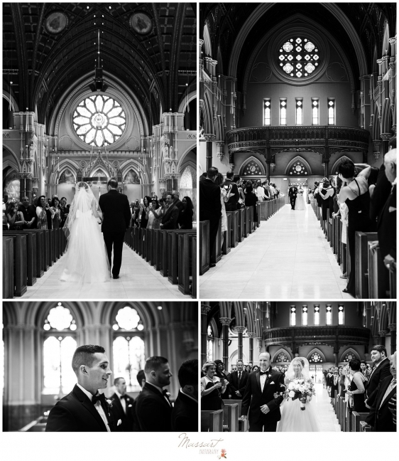 Father walks the bride down the aisle where the groom sees her for the first time on their wedding day in Newport RI photographed by Massart Photography RI