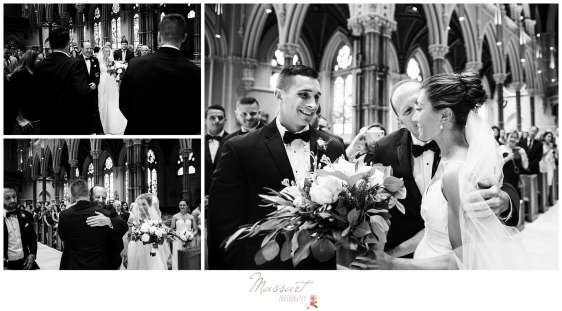 Father gives his daughter away to the groom during the Newport RI summer wedding photographed by Massart Photography Rhode Island