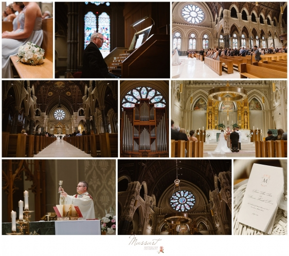 Photos of the ceremony during the Newport RI summer wedding photographed by Massart Photography of Warwick RI