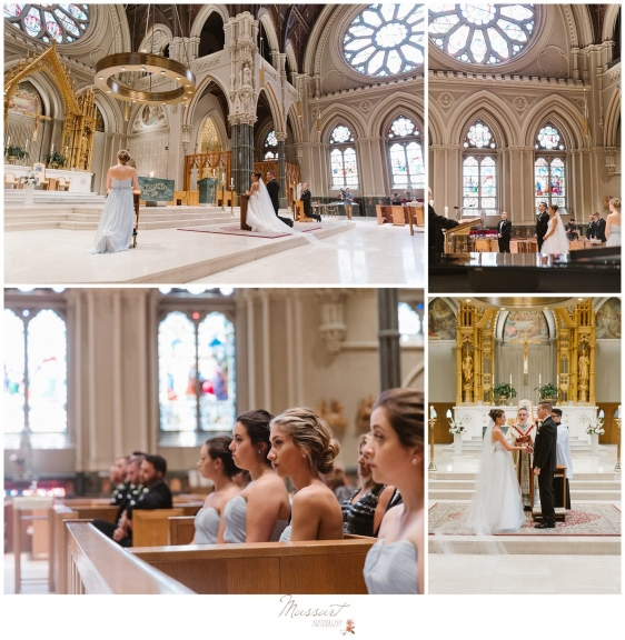 Photos from the church ceremony at the Newport RI wedding photographed by Massart Photography RI