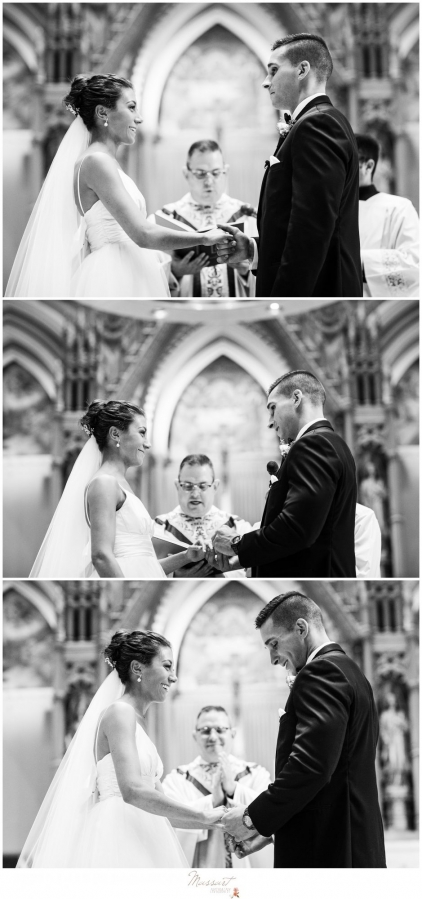 Bride and groom say their vows in the church at the Newport Beach House wedding photographed by Massart Photography Rhode Island
