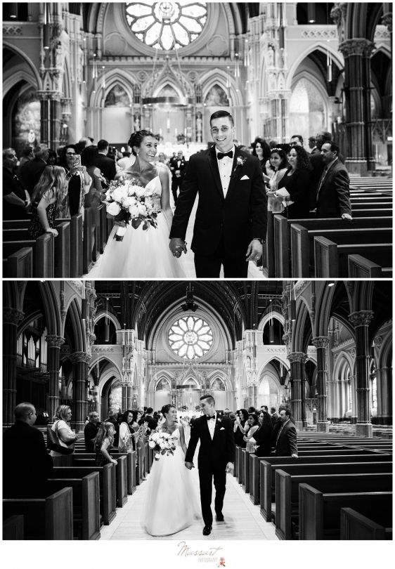 Bride and groom walk down the aisle for the first time as husband and wife during the Newport RI wedding photographed by Massart Photography RI