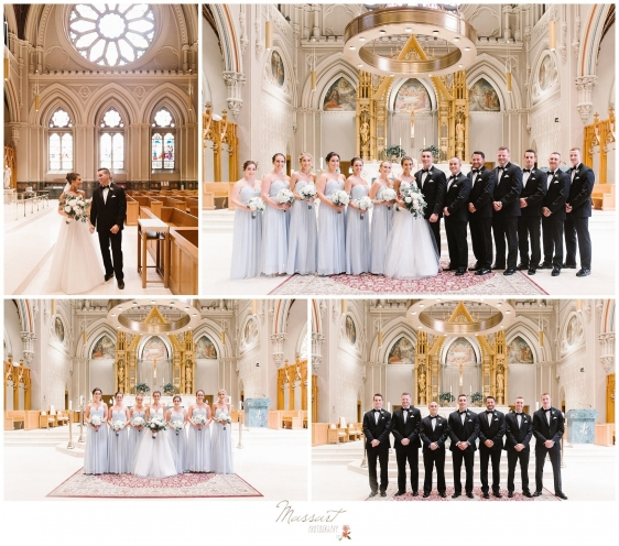 Photos of the wedding party with the bride and groom in the church after Newport RI wedding photographed by Massart Photography RI
