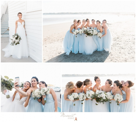 Bride and bridal party at beach in Newport RI photographed by Massart Photography Rhode Island