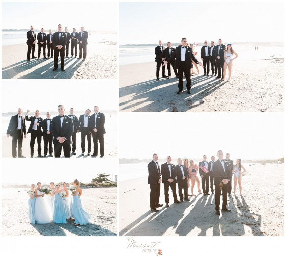 Bride and groom with the wedding parties on the beach in Newport RI photographed by Massart Photography RI