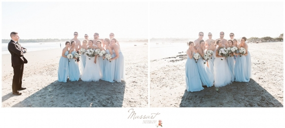 Bride and groom with the bridal party on beach in Newport RI photographed by Massart Photography RI