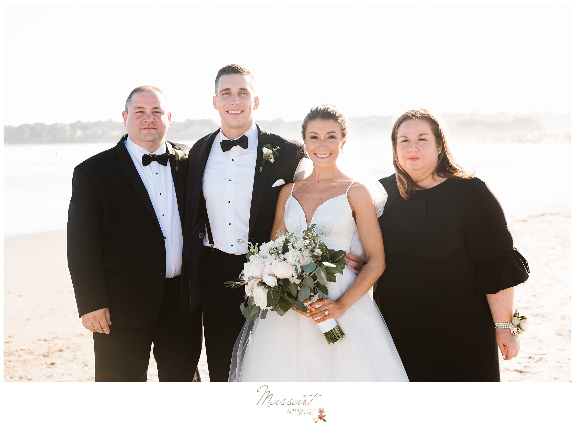 Bride and groom with parents at the Newport Beach House photographed by Massart Photography of Warwick RI