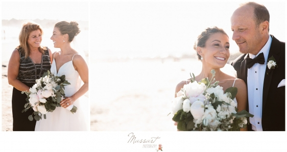 Bride and parents on Newport RI beach photographed by Massart Photography RI