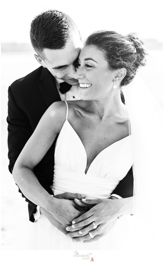 The happily married couple on Newport RI beach photographed by Massart Photography Rhode Island