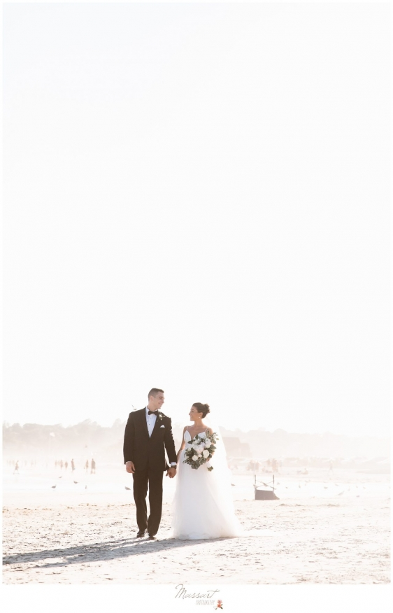 Bride and groom on the beach in Newport RI photographed by Massart Photography Rhode Island