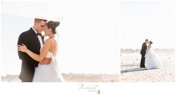 Kisses with the newlyweds on beach at Newport Beach House wedding photographed by Massart Photography RI