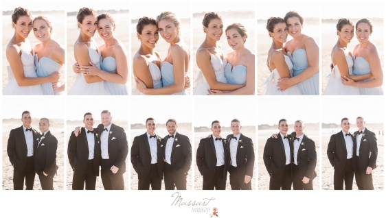 Bride and groom with their bridesmaids and groomsmen on the beach in Newport RI photographed by Massart Photography Rhode Island