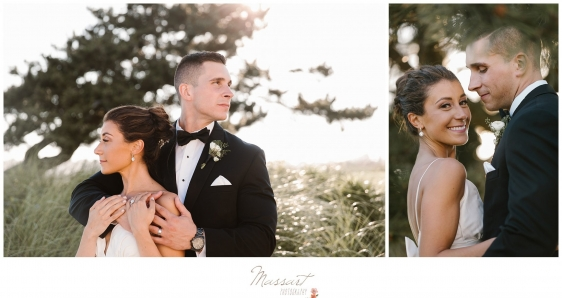 Shots of the bride and groom on the beach in the grasses in Newport RI photographed by Massart Photography RI