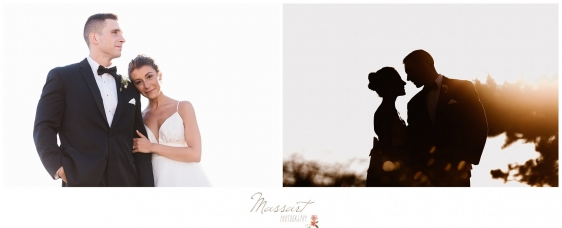 Bride and groom with the sun in the background on the beach in Newport RI photographed by Massart Photography RI