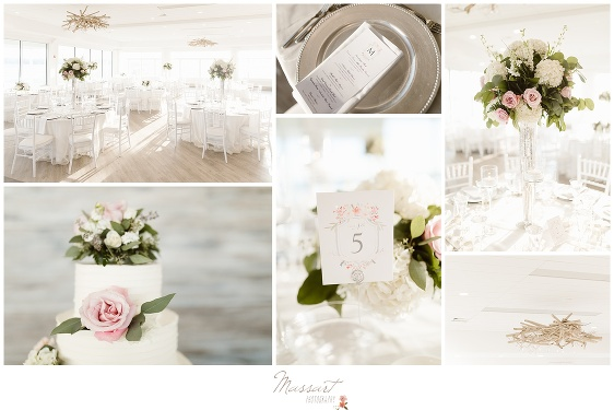 Elegant cake and decorations for the Newport Beach House wedding photographed by Massart Photography RI