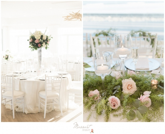 Table decorations and flowers for the Newport RI wedding photographed by Massart Photography RI