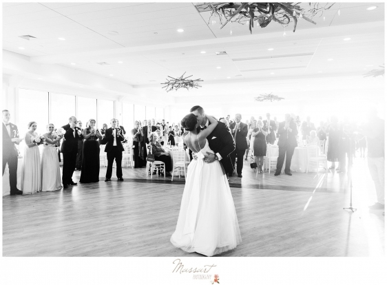 Bride and groom share their first dance at Newport Beach House wedding photographed by Massart Photography RI