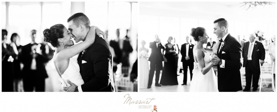 Bride and groom dance at the Newport Beach House wedding photographed by Massart Photography RI