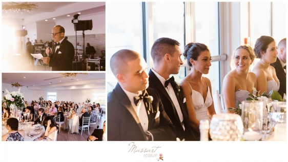 Best man gives speech to bride and groom at Newport Beach House wedding photographed by Massart Photography Rhode Island