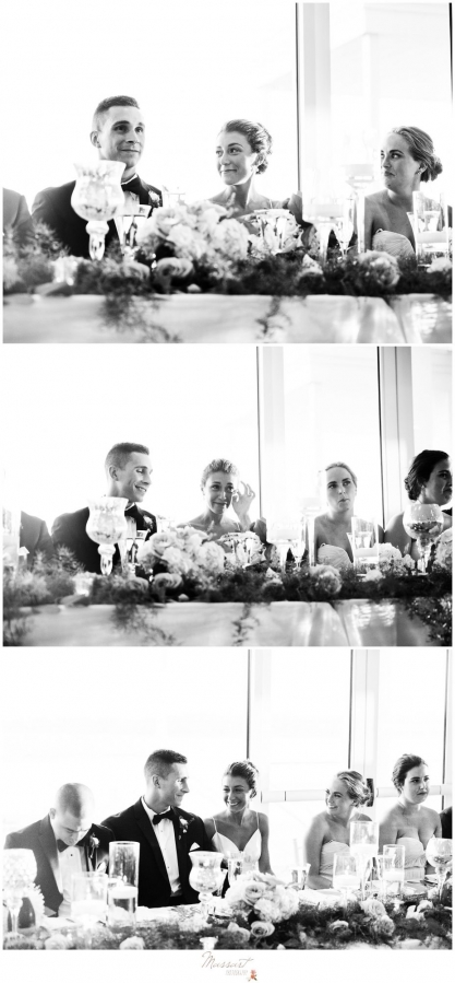 Bride and groom at their table with the wedding parties at the Newport RI summer wedding photographed by Massart Photography RI