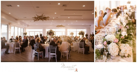 Wedding guests and floral arrangements at Newport Beach House wedding photographed by Massart Photography RI