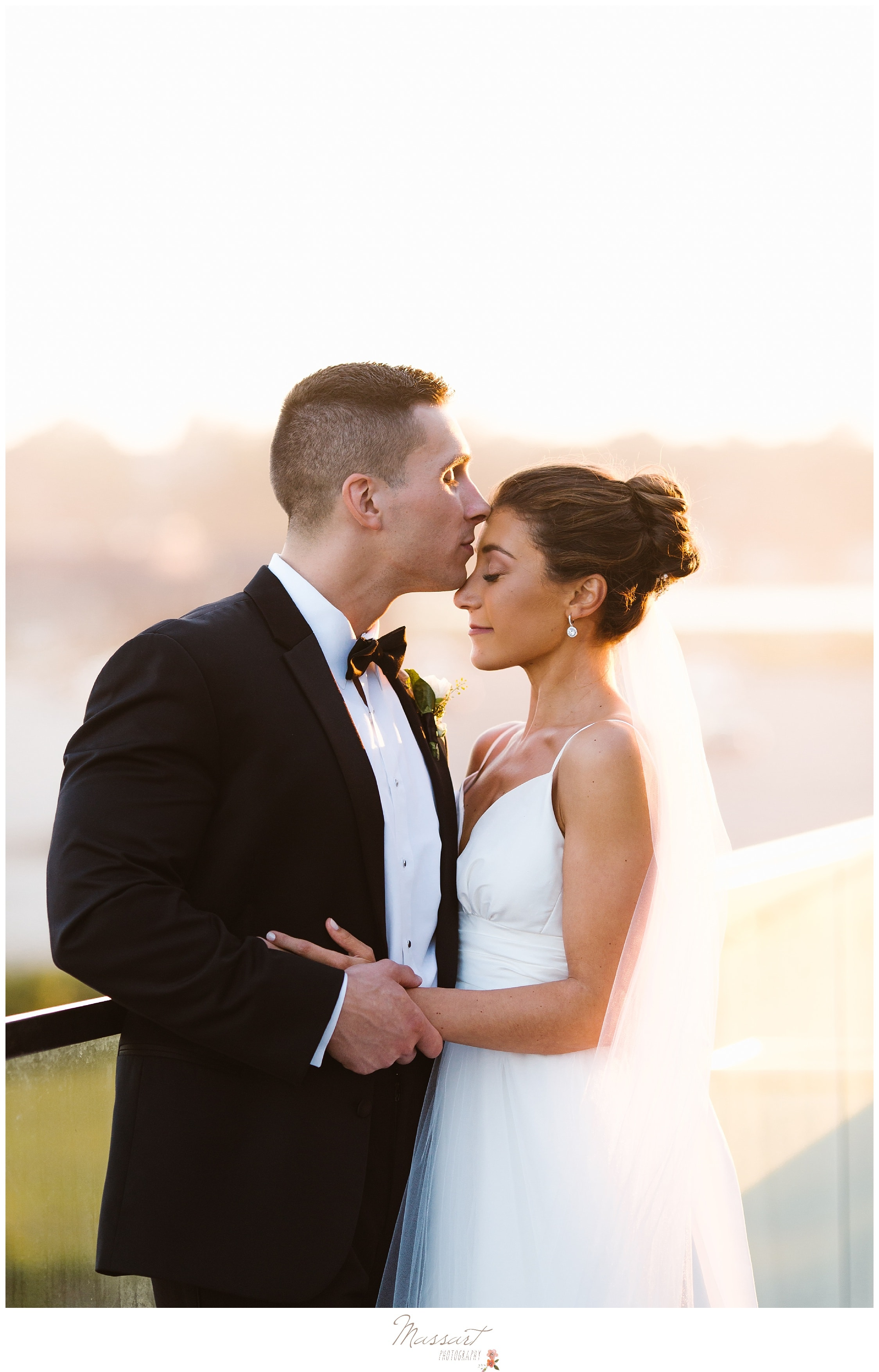 Bride and groom outside the Newport Beach House summer wedding photographed by Massart Photography RI