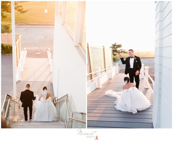 Bride and groom walk down the stairs to the beach in the Newport Beach House photographed by Massart Photography RI