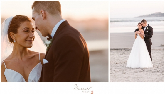 Photos of the bride and groom at sunset during the Newport summer wedding photographed by Massart Photography RI