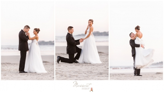 Groom recreates proposal on the beach at the Newport RI wedding photographed by Massart Photography Rhode Island