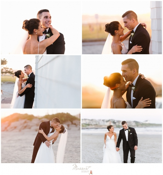 Bride and groom take pictures during the sunset at the Newport Beach House wedding photographed by Massart Photography Rhode Island