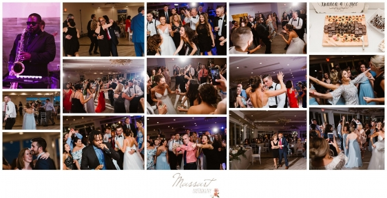 Wedding guests dance with the bride and groom during reception at Newport Beach House wedding photographed by Massart Photography Rhode Island