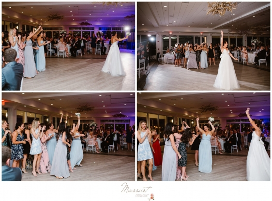 Bride throws the bouquet at Newport Beach House summer wedding photographed by Massart Photography Rhode Island