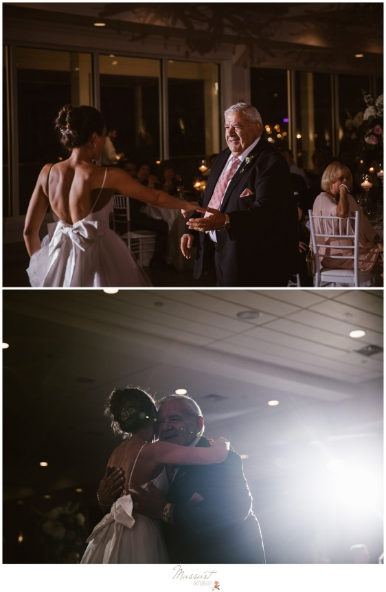 Bride dances with grandfather during Newport Beach House wedding photographed by Massart Photography RI
