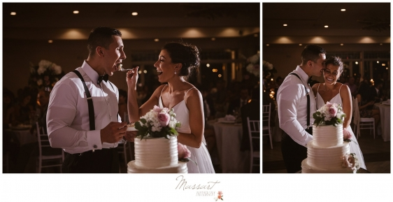 Bride and groom share their cake at their Newport RI summer wedding photographed by Massart Photography RI