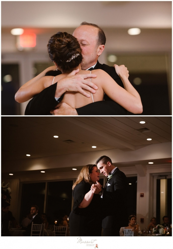 Groom and bride dance with their mother and father during wedding reception at Newport Beach House RI photographed by Massart Photography Rhode Island