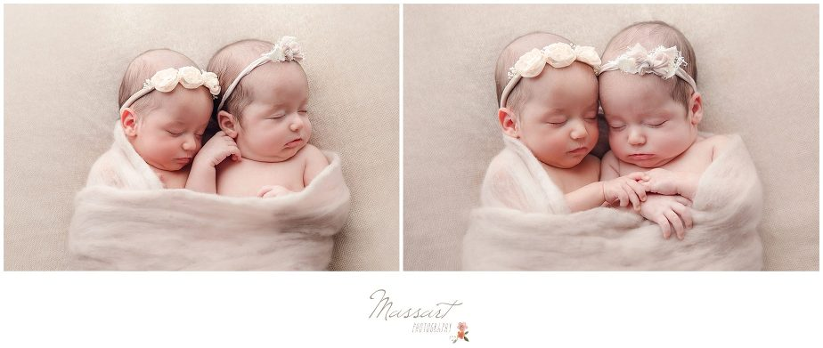 Side by side portraits of newborn twin baby girls photographed by Massart Photography Rhode Island