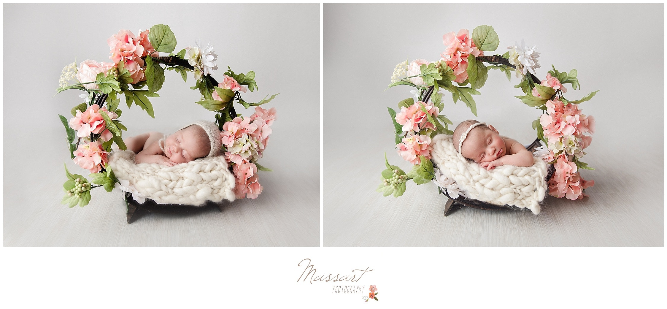 Newborn twin baby girls in floral baskets photographed by Massart Photography Rhode Island