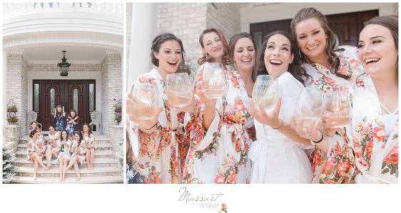 The bridal party shares a toast before the ceremony in Newport RI photographed by Massart Photography Rhode Island