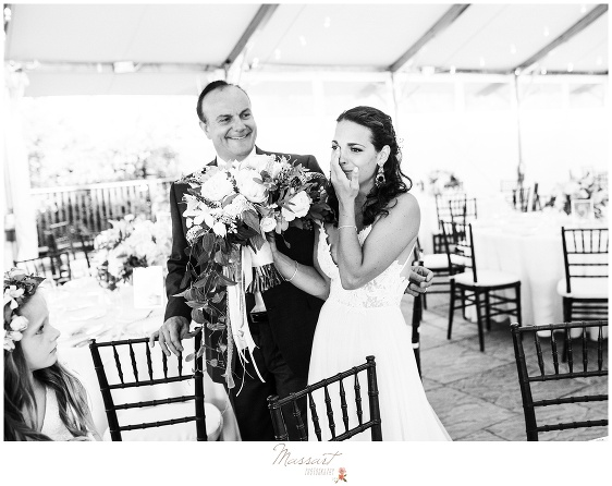 Father and the bride together at the wedding ceremony in Newport RI photographed by Massart Photography Rhode Island