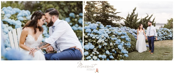 Bride and groom in a flower garden during their Newport RI wedding photographed by Massart Photography Rhode Island