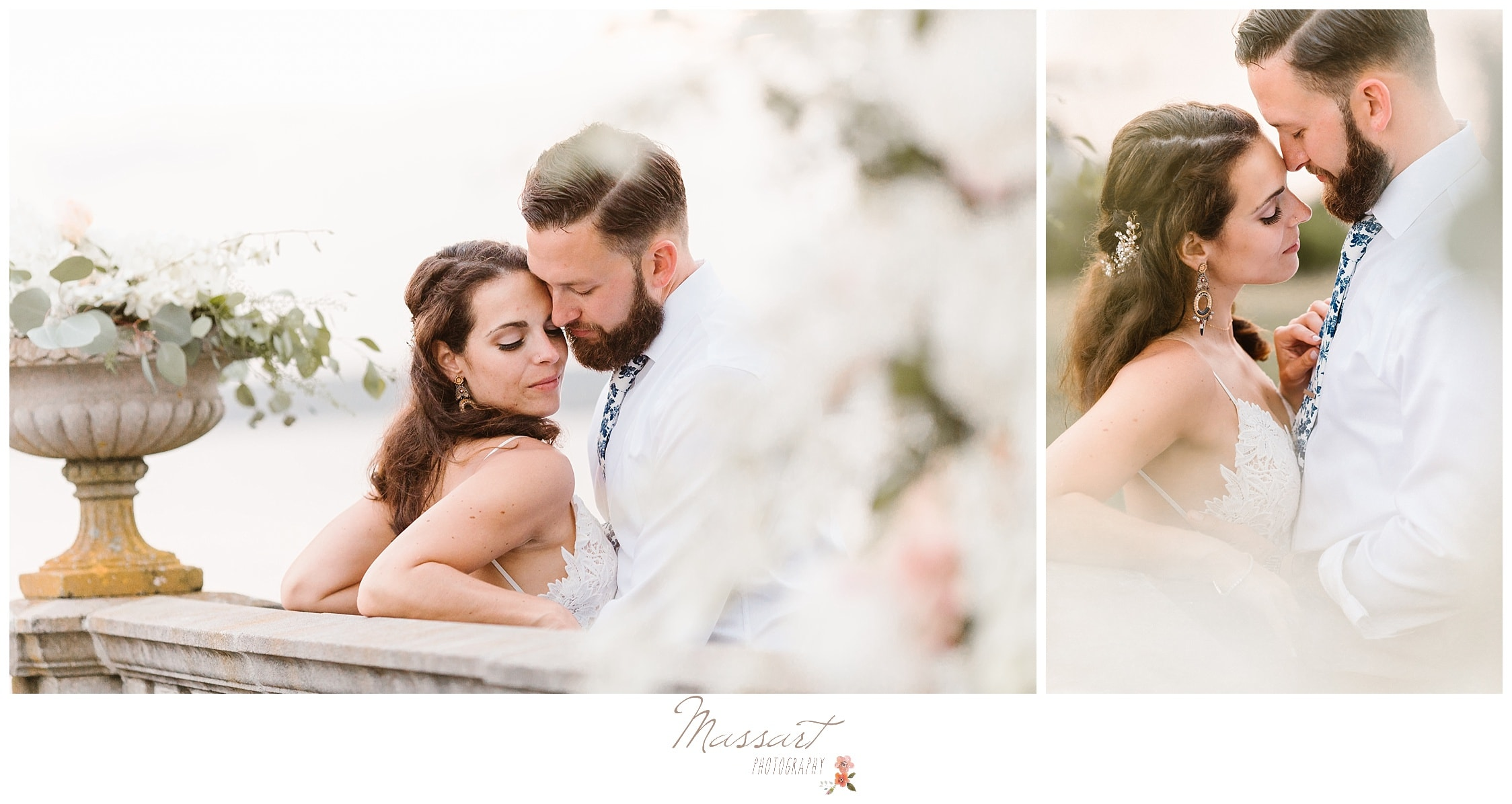 Bride and groom take pictures outside of their Castle Hill wedding as newlyweds photographed by Massart Photography RI