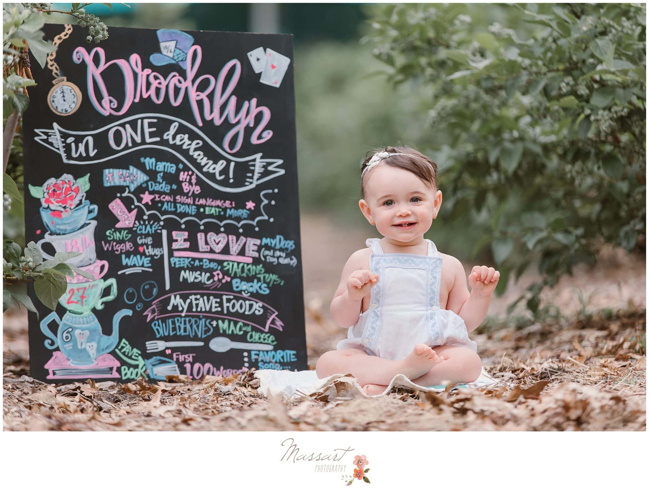 Baby girl with her one year old update sign in the blueberry farm during her cake smash session photographed by Massart Photography Rhode Island